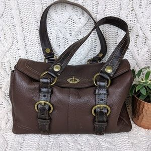Coach Chelsea Purse Pebbled Brown Leather, EUC!